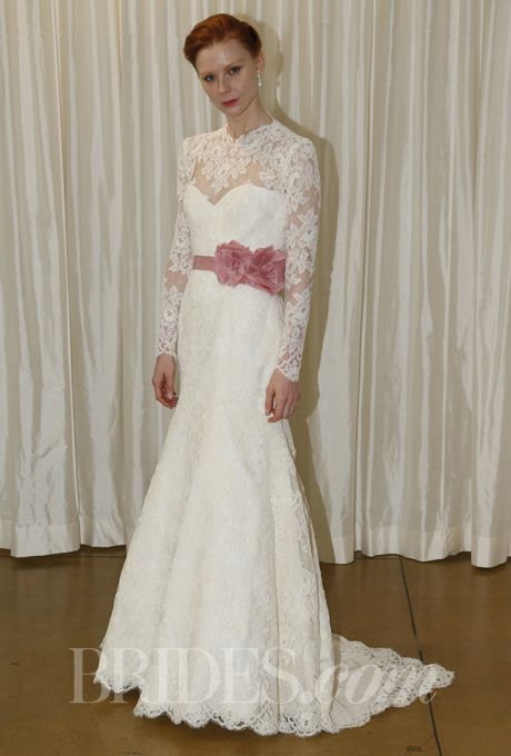 Brides.com: Judd Waddell - Fall 2013. Lace sheath wedding dress with illusion long sleeves and a sweetheart neckline, Judd Waddell. Beautifully feminine!