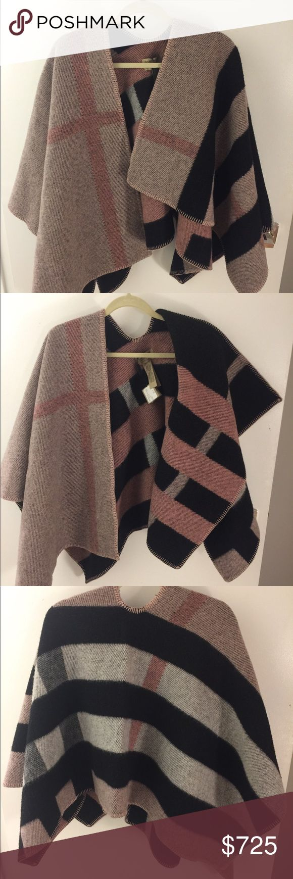 NWT Burberry Mega Check Cape/Poncho Wool Cashmere New with tags. Never worn. Pet free, smoke free house. One size. Made in Scotland. Retail price $1495 Burberry Jackets & Coats Capes