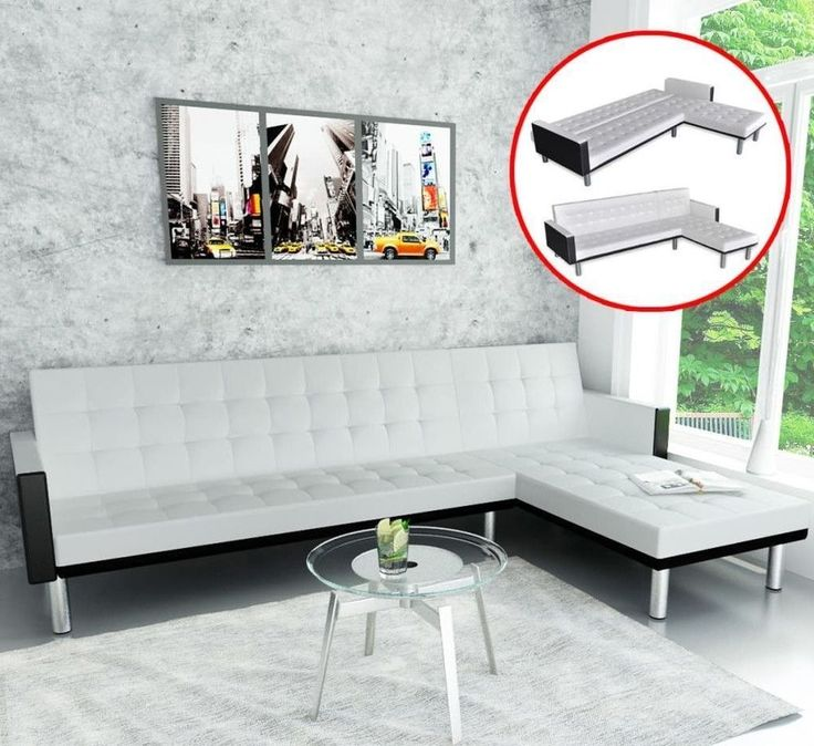White Leather Sectional Sofa 5 Seater L Shaped Modern Living Room Furniture #WhiteLeatherSectional