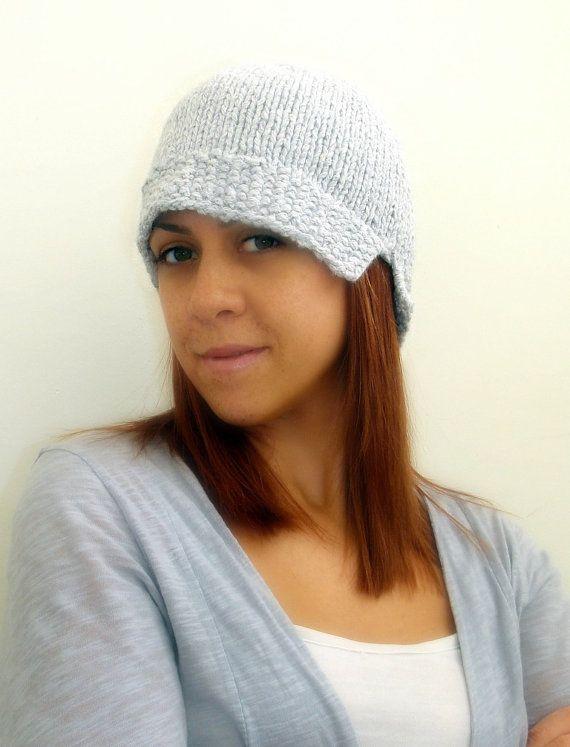 Cloche hat hand knitted in grey women accessories 1920s by Kikoa, $35.00