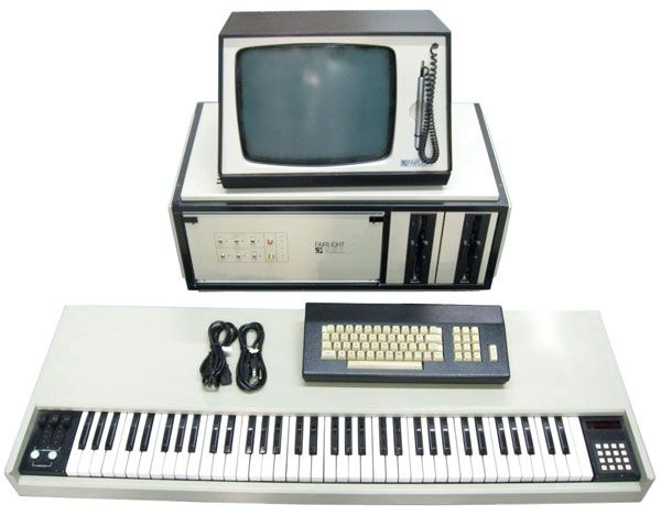 "The Australian Fairlight Computer Music Instrument (CMI) is a vintage but state-of-the-art Synthesizer/Sampler workstation. An incredible sampler with 28 megabytes or more of memory! One or two full 73 note velocity sensitive keyboards! Complete synthesis and editing of digitally sampled sounds. Three different on-board SMPTE Sequencers and storage to various disk mediums. The processor itself is housed in a 24"" module."