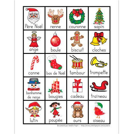 Fichier PDF téléchargeable En couleur seulement 1 page  Voici 20 mots illustrés de Noël que vous pouvez utiliser comme jeu de mémoire si vous imprimez le document en double.