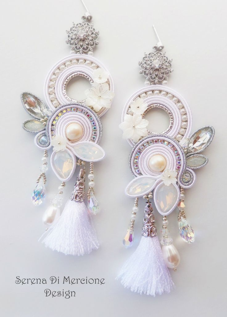 Soutache Earrings by Serena Di Mercione. --- white - silver - crystal - swarovski - soutache - tassel