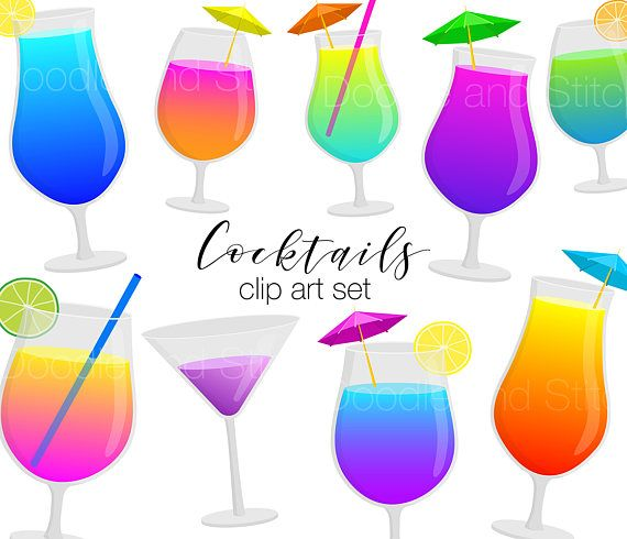 Cocktails Clip Art, Drink Clipart Pictures, Summer Holiday Illustrations, Cocktail Art, Digital Stickers