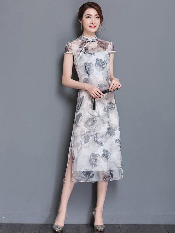Gray Floral Chiffon Qipao / Cheongsam Dress