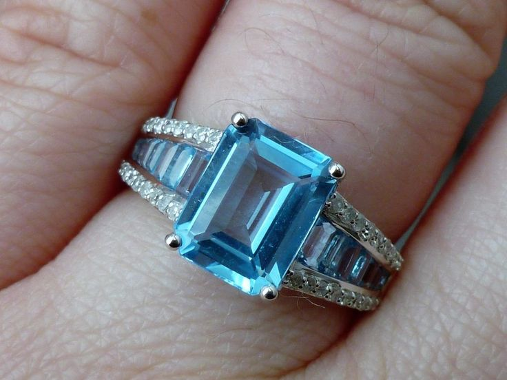 NEW Large 5ct Emerald-Cut Blue Topaz & Diamond Ring 14K White Gold Size 7 #Unbranded #SolitairewithAccents
