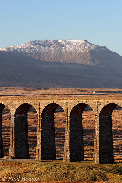 Photograph of Ribblehead Viaduct and Ingleborough, Yorkshire, UK