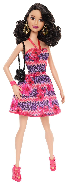 Amazon.com: Barbie Fashionista Raquelle Doll, Pink and Purple Dress: Toys & Games