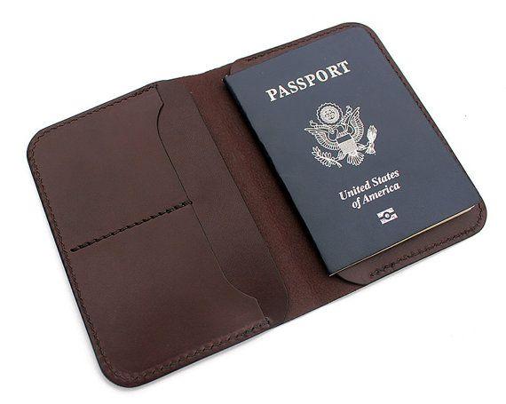 Porta pasaporte de cuero, carpeta de cuero del pasaporte, cubierta del pasaporte, viajes monedero, cartera personalizada, tan marrón veg, hecho a mano en USA