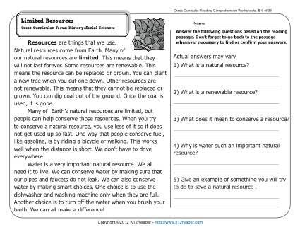 Natural Resources Cross Curricular Focus History Social Sciences Answers