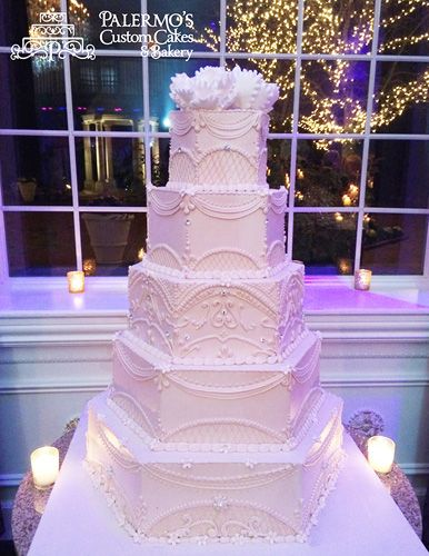 Hexagon White Wedding Cake....nice shape