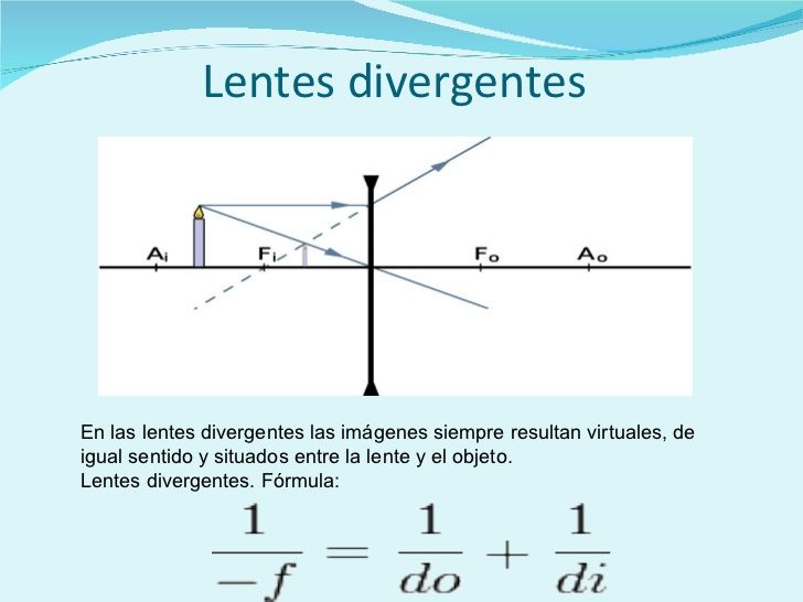 Lentes divergentes   En las lentes divergentes las imágenes siempre resultan virtuales, de igual sentido y situados entre ...