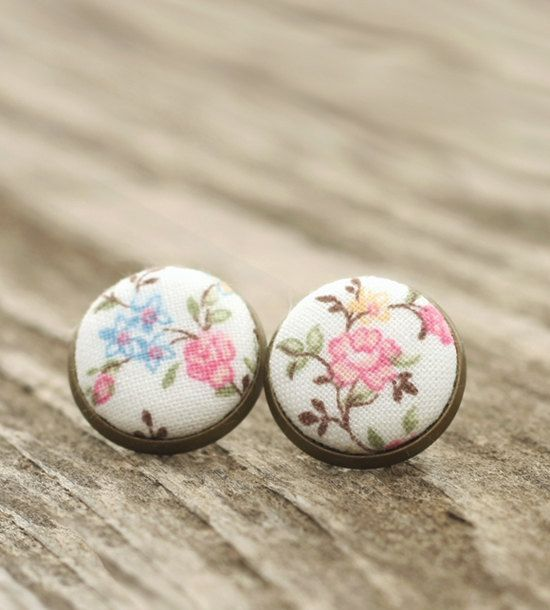 Stud Earrings - Cherry Blossoms Studs - Pink and Blue Flowers on White Earrings - Shabby Romantic Chic Fabric Buttons Jewelry Antique Posts