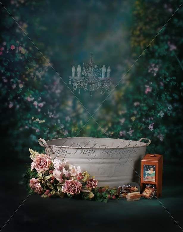 Girls Bathtub Digital Backdrop Amp Layered Background For