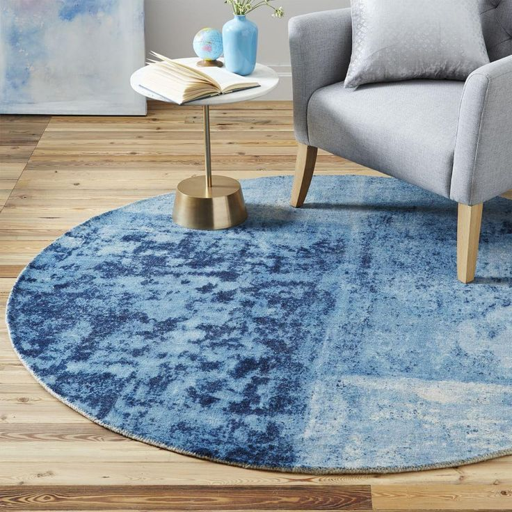 Distressed Rococo Wool Rug - Round