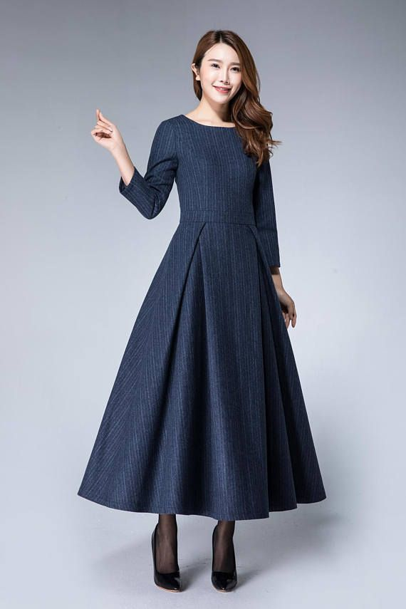 Warm dress, christmas dress, striped dress, wool dress, navy dress, maxi dress, pleated dress, women dress, elegant dress, wool dress 1873#