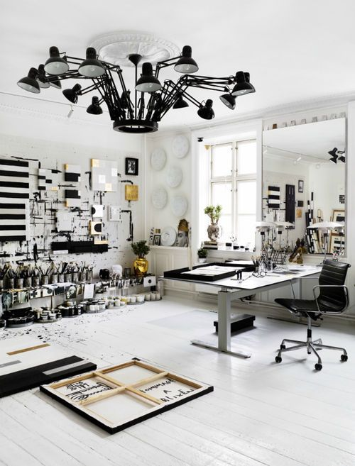 amazing art studio. I just want the lighting! that set up would be great for a in-home studio as long as you could control the lights individually.