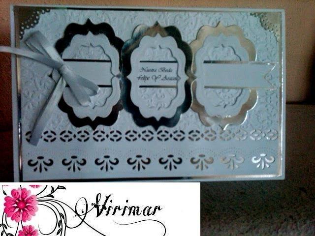 Tarjeta blanco con plata para boda