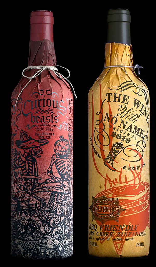 Stranger & Stranger Wine Packaging | These decorative paper sleeves wrap around wine bottles in a fashion inspired by prohibition-era packaging. Various ornate sleeves display a broad range of subjects spanning from quotes to recipes to vintage-style artwork.