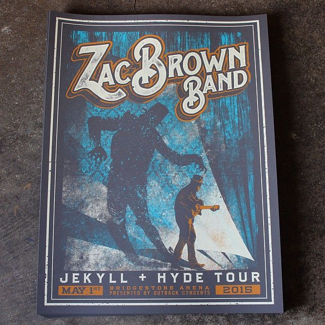 Some #spooky posters we made for @zacbrownband's #jekyllandhyde tour coming to @bridgestonearenaofficial Friday! #zbb #nashville #screenprinting #showposter