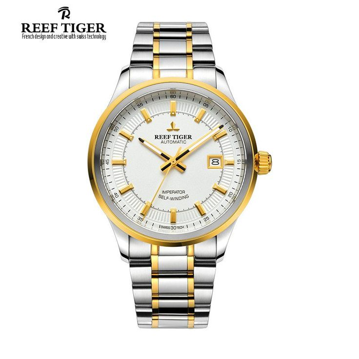 Reef Tiger/RT Watch Business Designer Watches For Mens Automatic Dress Watch With Date Steel/Yellow Gold Super Luminous RGA8015