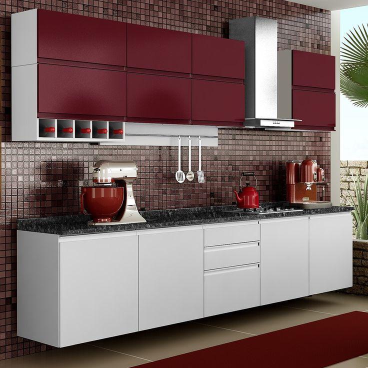 красная с белым кухня
