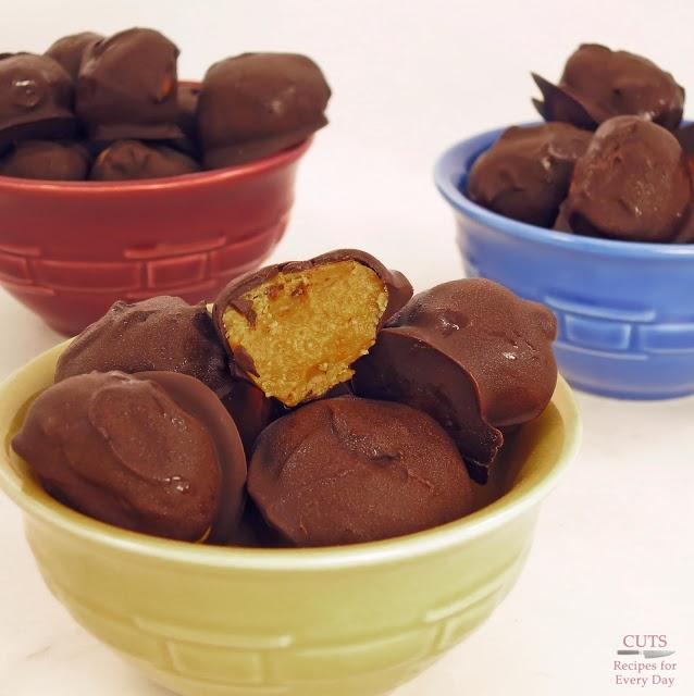 frozen chocolate peanut butter balls - an easy dessert with no sugar added!