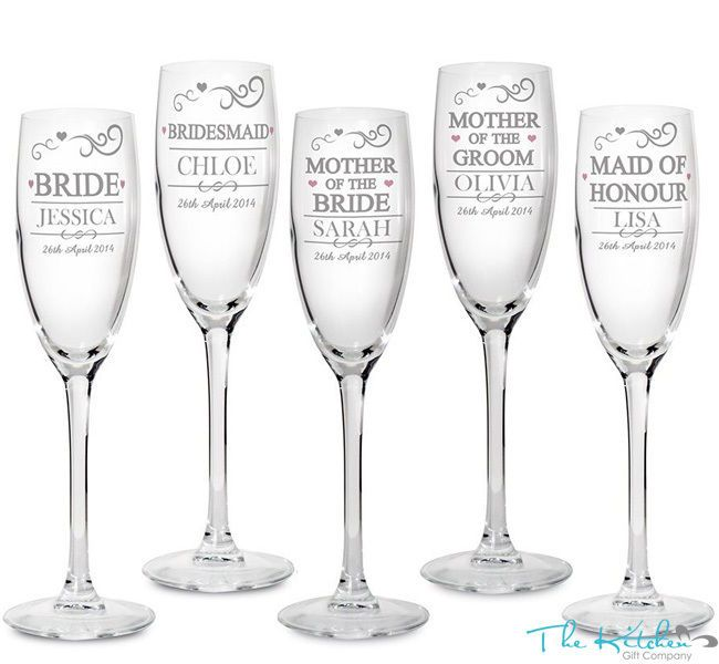 Personalised Engraved Champagne Flutes Glass Wedding Favour Gift Bridesmaid