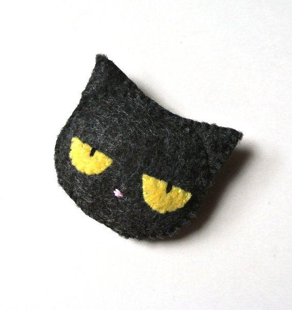 Black Cat Felt Brooch Felt Pin Halloween Cat Handmade by mikaart $10.99 at Etsy https://www.etsy.com/ca/listing/204592539/black-cat-felt-brooch-felt-pin-halloween?ref=shop_home_active_1