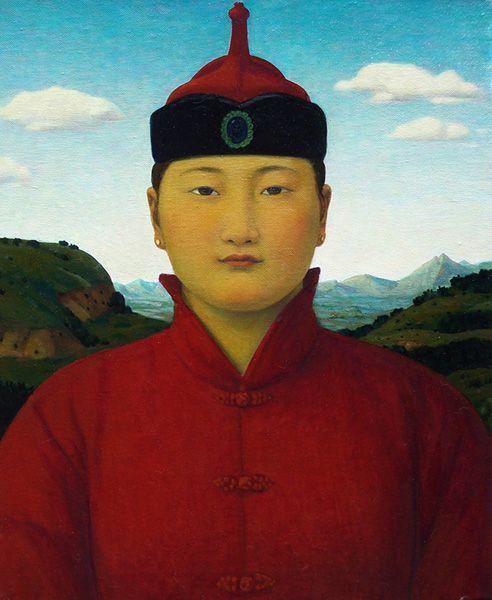 'Arsgen' by Contemporary painter Xue Mo - Mongolian Renaissance -  Oil on linen.  http://www.dianefarrisgallery.com/mongolian-renaissance-2008/