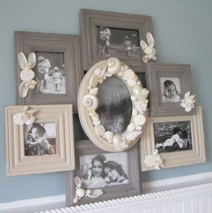 Beach Decor Collage Multi Picture Frame - Nautical 7 Picture Wall Frame w White Shells, Gray / Ivory. $100.00, via Etsy.