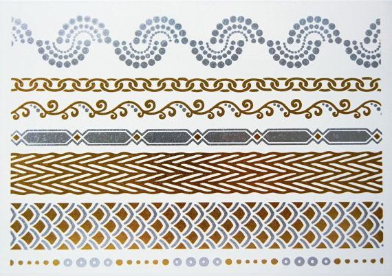 Metallic Gold & Silver Temporary Tattoos by ShimmerTatts: Metallic tattoos temporary jewelry by artist, Melissa Drake, adds a flashy fashionable