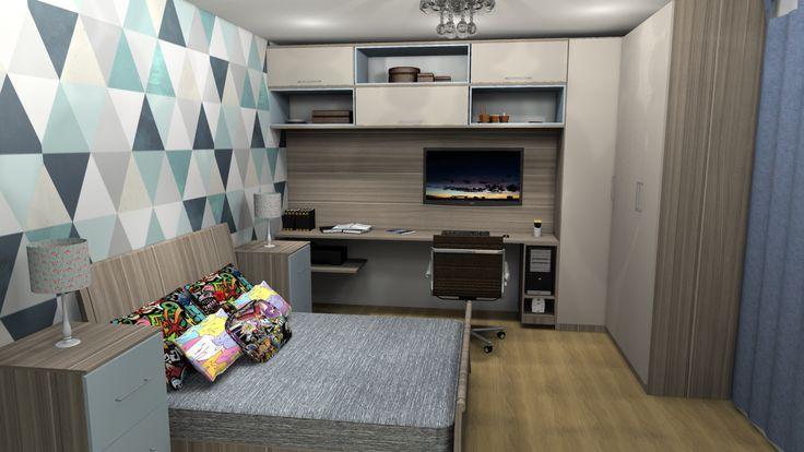 Quarto amplo com home office e o monitor que pode ser usado como TV com suporte articulado