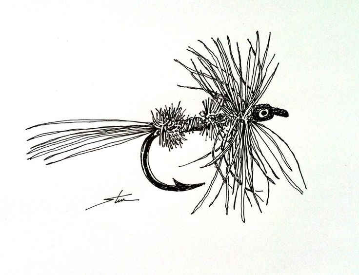 fly fisherman drawing - photo #43