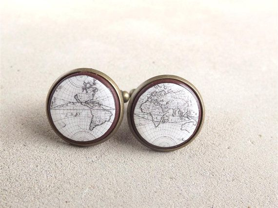 Vintage World Map Cufflinks Men Cufflinks Mens by bloomyjewelry, $20.00