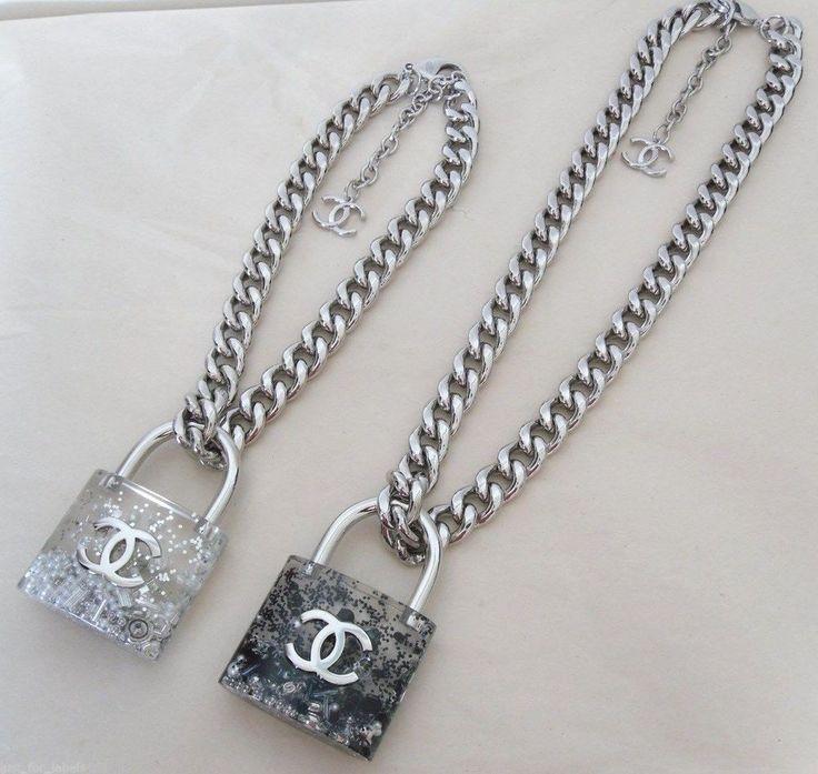 Chanel 2014 Large Padlock Removable Lock Black Pearls Cc