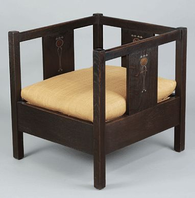 Designed For Gustav Stickley By Harvey Ellis, The Inlaid Cube Chair Was  Made Circa 1903