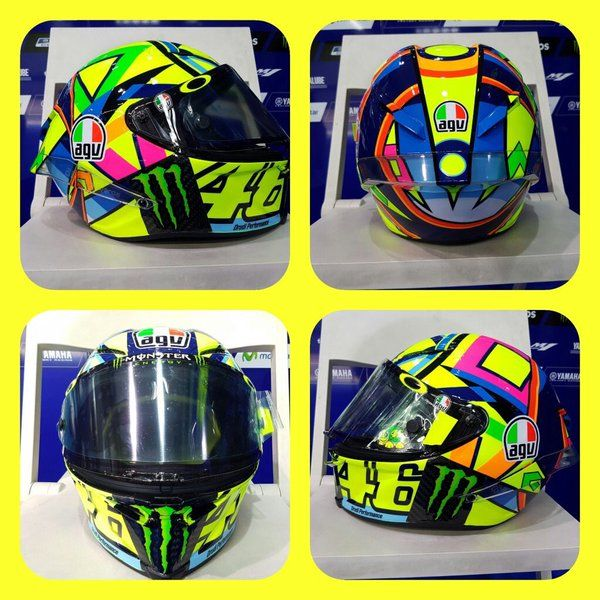 Valentino Rossi's 2016 MotoGP helmet, a colourful and geometric adaptation of the SoleLuna helmet. http://rossihelmets.com/valentino-rossis-new-2016-motogp-helmet/
