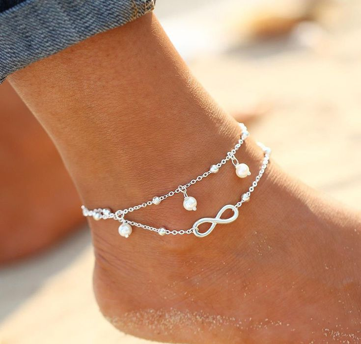 Anklets Silver Plated Infinite Double Chain Cross Pearl Woman Girl Jewellery AU #Unbranded