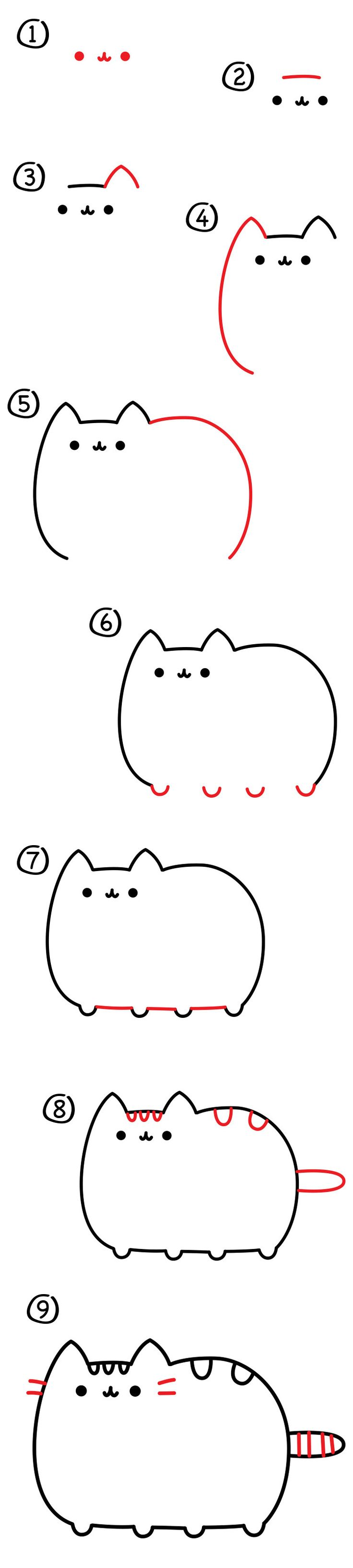 how to draw pusheen Cat • CARTOON DRAWING TIP •