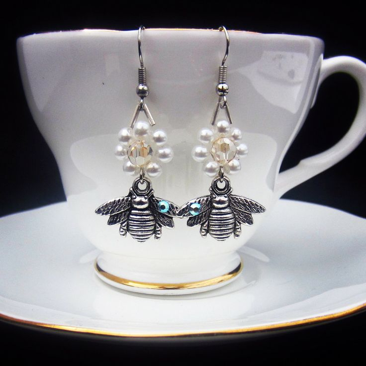 """Buzzy Bee"" Vintage Style Pearl Floral Bee earrings for busy little bees #jewelinateacup"