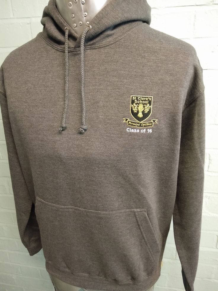 """These Leavers Hoodies are looking great for St Claire's Class of 16. Printed onto our Dark Grey Marl """"College Hoodie"""" with custom embroidered logo and custom Leavers print on the back in white in our """"16 Leavers"""" names design."""