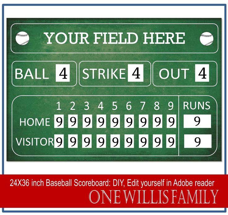 DIY Baseball Scoreboard: Baseball birthday party decoration scoreboard 24x36, Green or Black, DIY Editable in adobe reader by OneWillisFamily on Etsy https://www.etsy.com/listing/201416358/diy-baseball-scoreboard-baseball