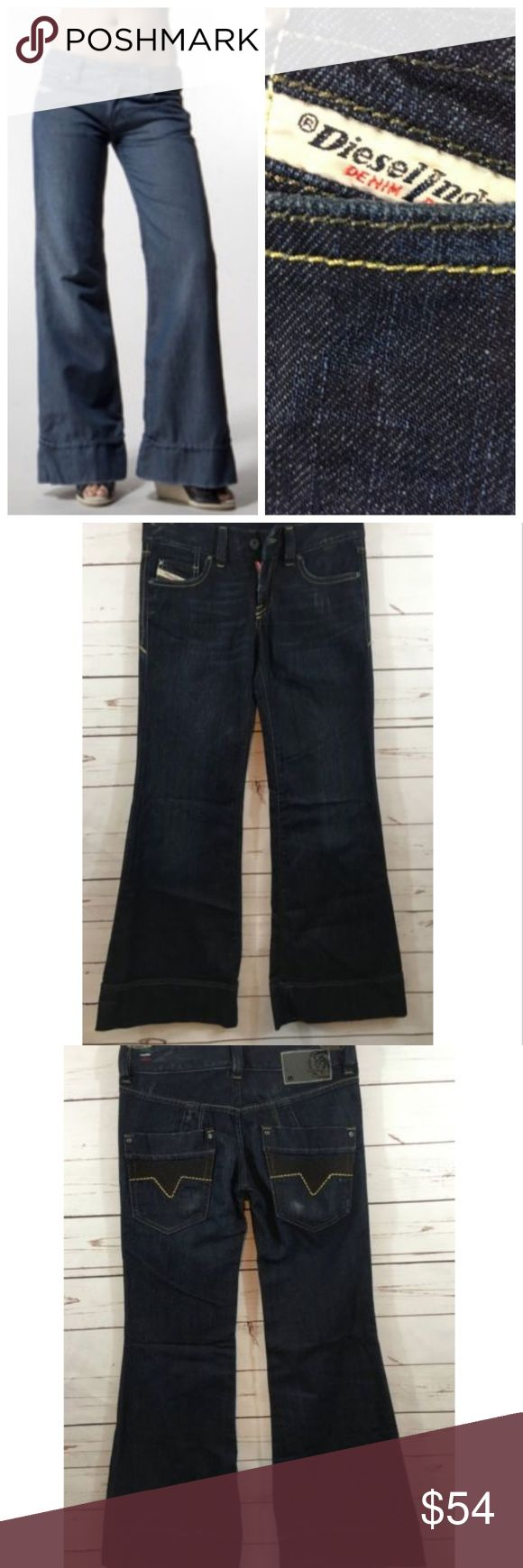 "Diesel Pacee 008BM Dark Wash Jeans 25x30 NWOT $189 Diesel Womens Jeans Pacee 008BM 25x30 NWOT $189 -Dark Wash -Bootcut -Low Rise -4 Pockets -Belt Loops -Leather Diesel Logo on back Size: 25x30 Inseam: 30""  Rise: 8""  Waist: 14.5"" flat lay from side to side Leg Opening Width: 12"" flat lay from seam to seam  Color: Dark Wash Material: 75% Cotton 25% Poly Care: Machine Wash Cold   New Diesel Pacee Jeans. Great fit and classic style! Please see measurements and compare to a home garment for…"