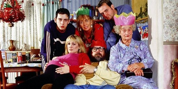 Royle Family actress Liz Smith, far right, with cast members. Photo / Supplied