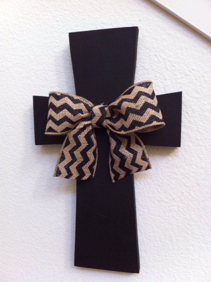 Wooden Wall Cross with Burlap Bow by bstreetboutique on Etsy, $20.00