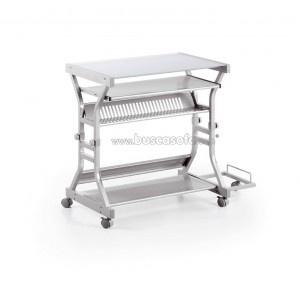 $152/ 115€ Mesa de ordenador OSLO de altura regulable con ruedas en acabado epoxi (metálico) gris con cristal glaseado templado. 80+25 x 50 cm. y 83 cm. de altura.