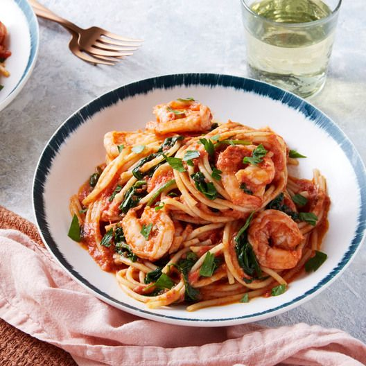 Shrimp Marinara with Spaghetti, Spinach, & Parsley