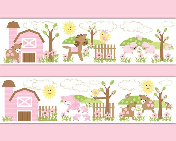 PINK FARM NURSERY Border Decal Wall Art Girl Barnyard Animals Stickers Baby Shower Gift Decorations Horse Pony Pig Sheep Cow Chicken Rooster #decampstudios