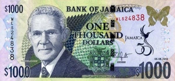 Jamaica 1000 dollar bill